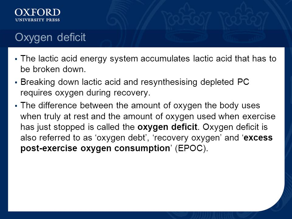 Oxygen deficit The lactic acid energy system accumulates lactic acid that has to be broken down.