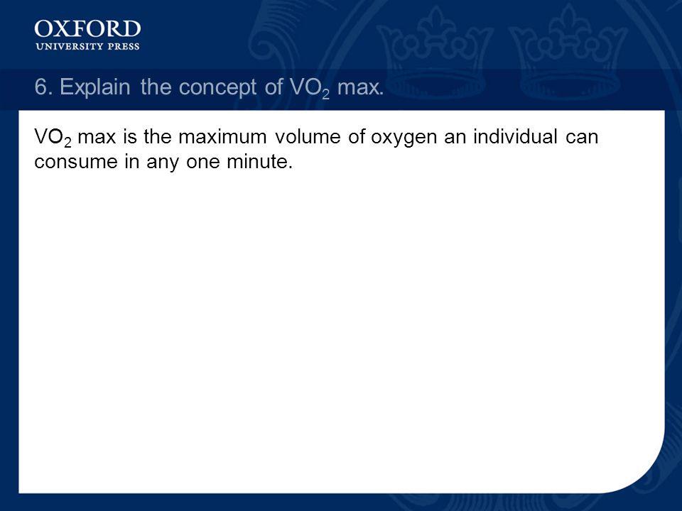 6. Explain the concept of VO2 max.