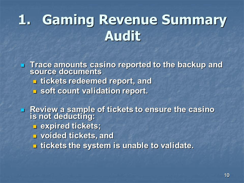 1. Gaming Revenue Summary Audit