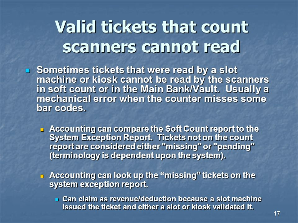 Valid tickets that count scanners cannot read