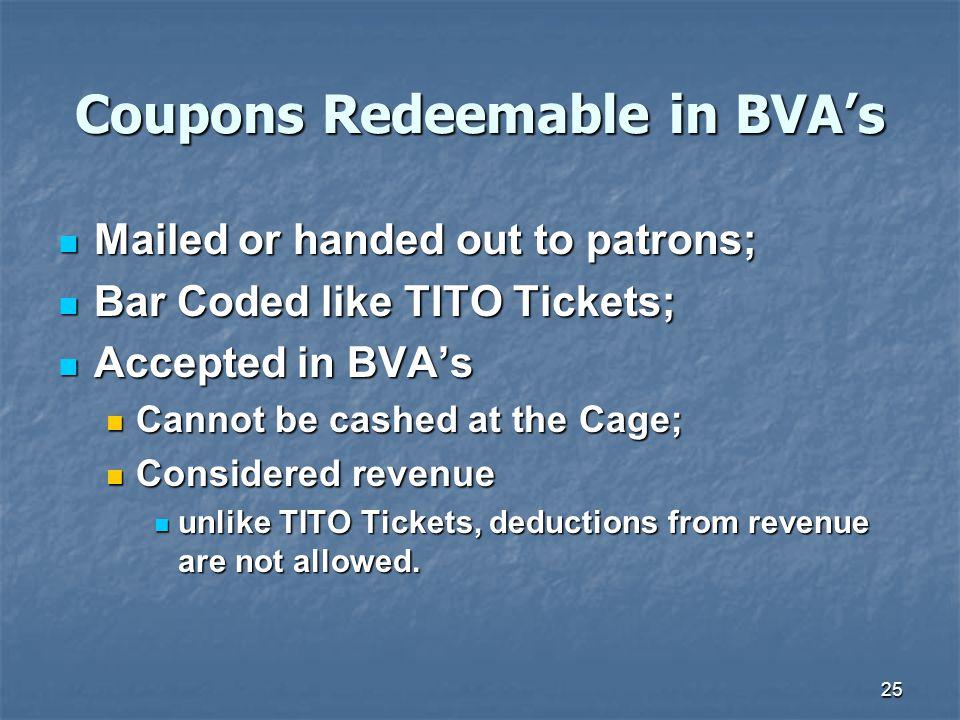 Coupons Redeemable in BVA's