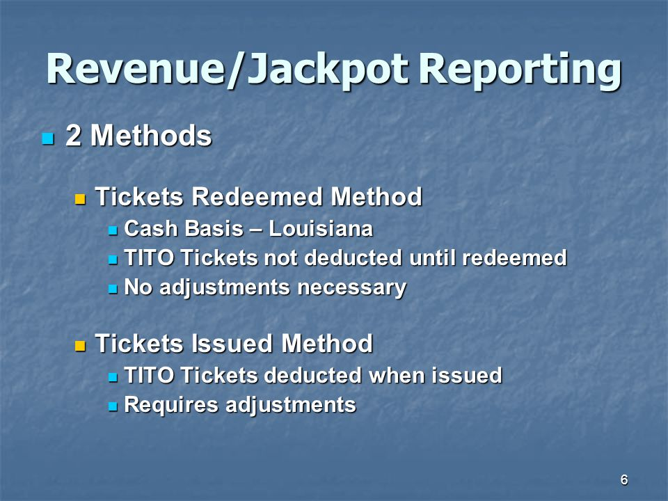 Revenue/Jackpot Reporting