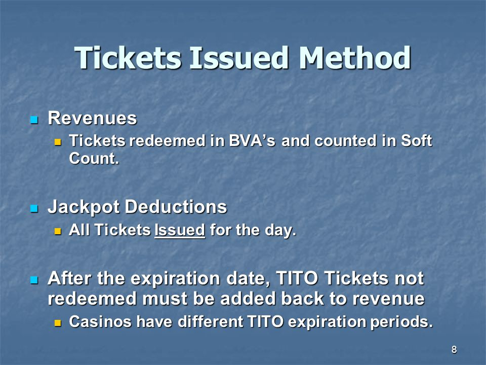 Tickets Issued Method Revenues Jackpot Deductions