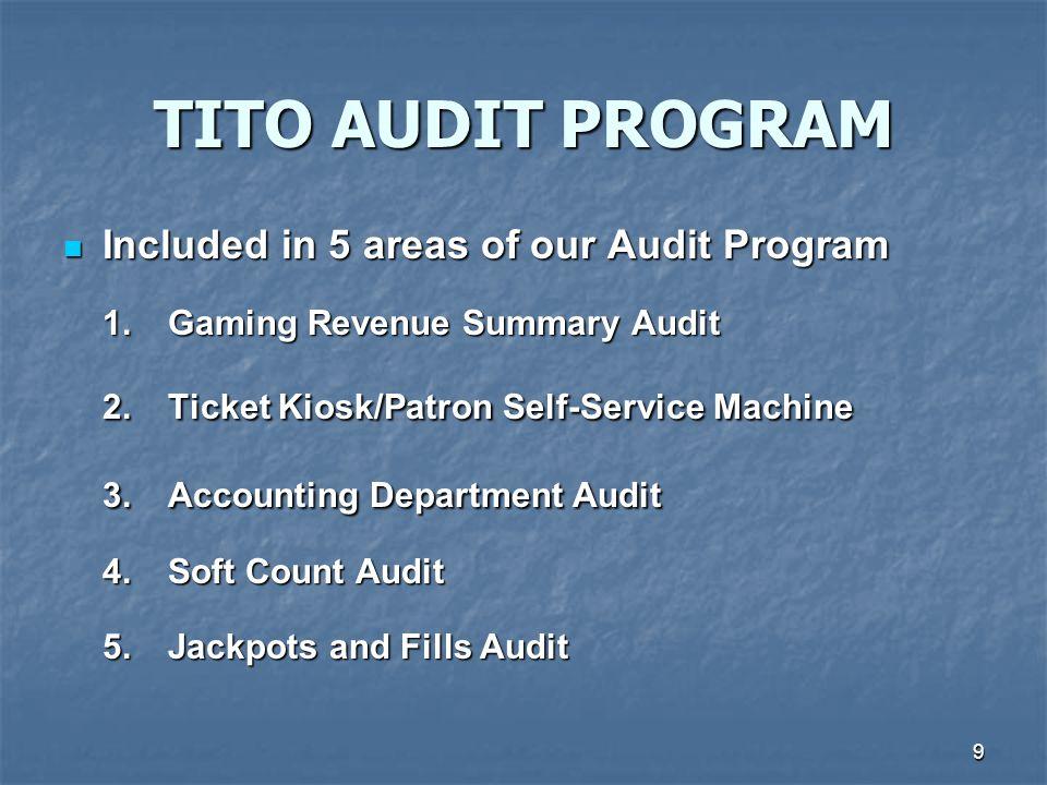 TITO AUDIT PROGRAM 2. Ticket Kiosk/Patron Self-Service Machine