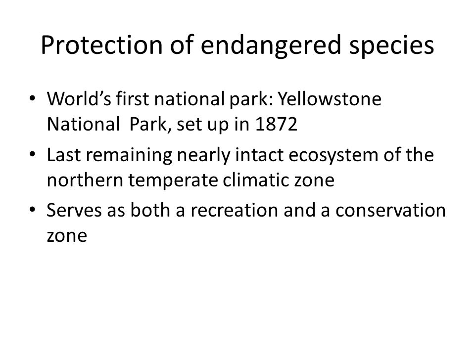 Protection of endangered species