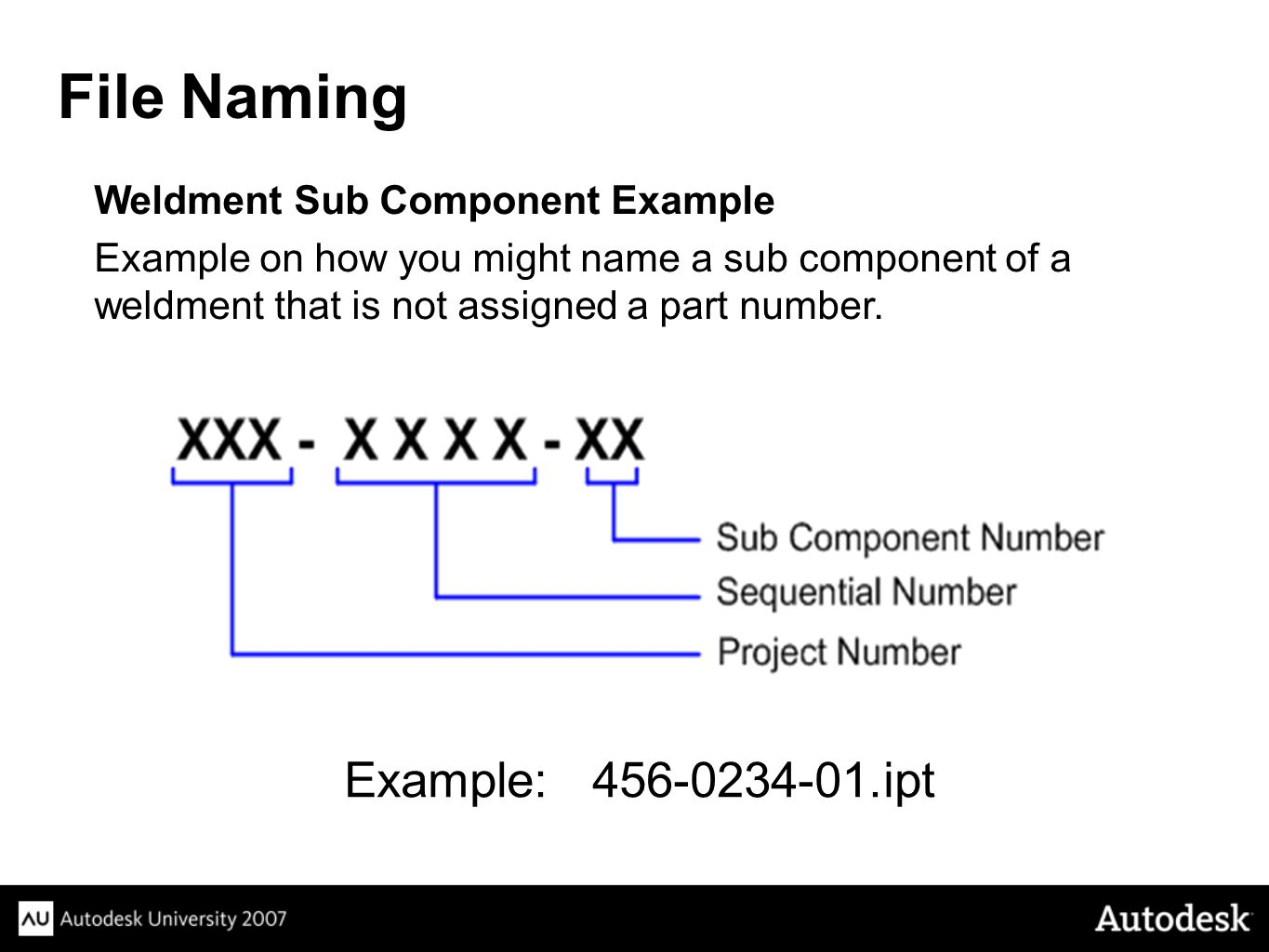File Naming Example: 456-0234-01.ipt Weldment Sub Component Example