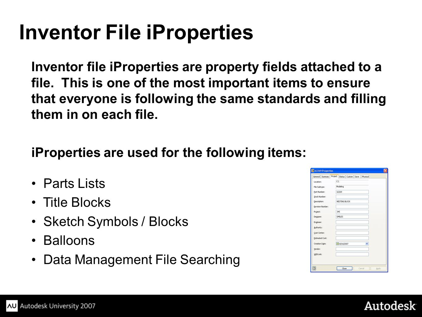 Inventor File iProperties