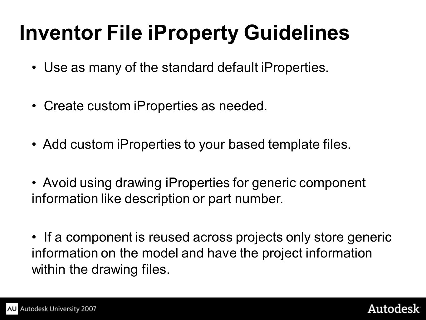 Inventor File iProperty Guidelines