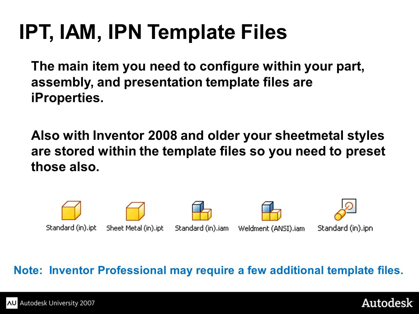 IPT, IAM, IPN Template Files