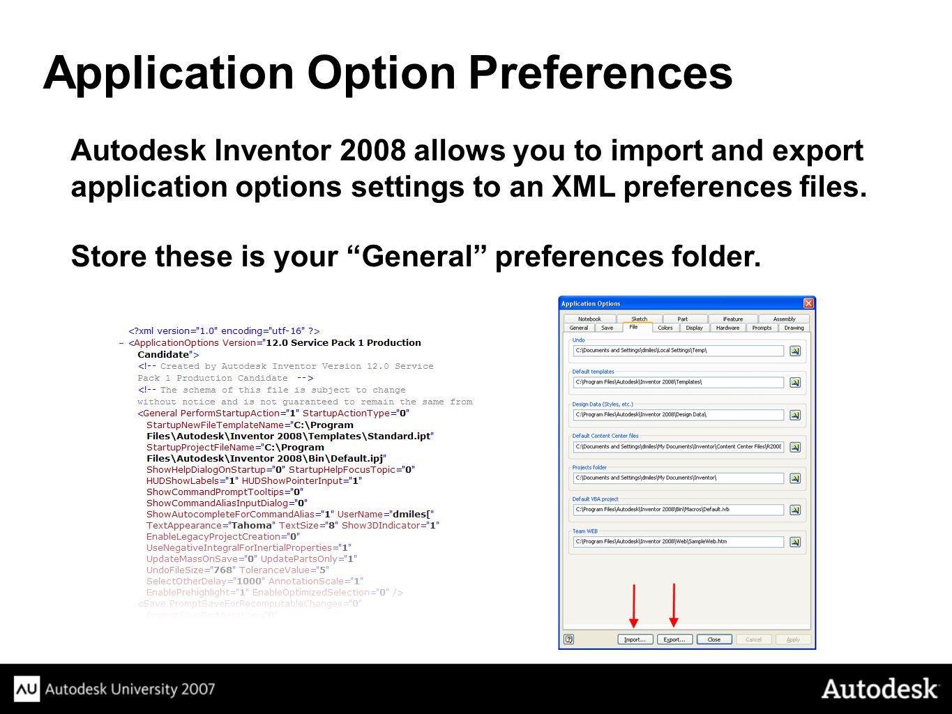 Application Option Preferences