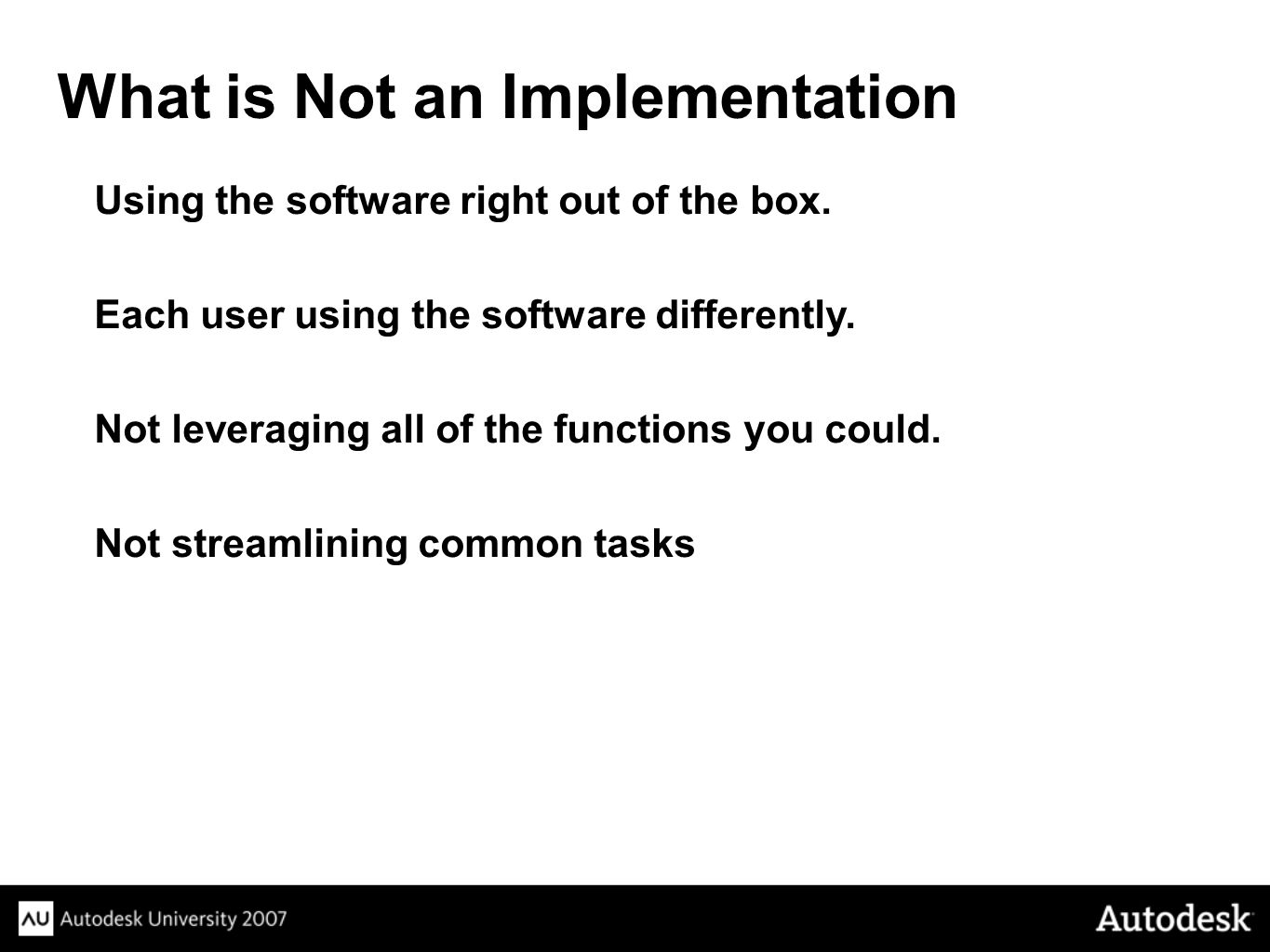 What is Not an Implementation