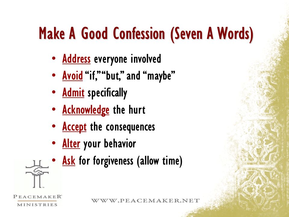 Make A Good Confession (Seven A Words)