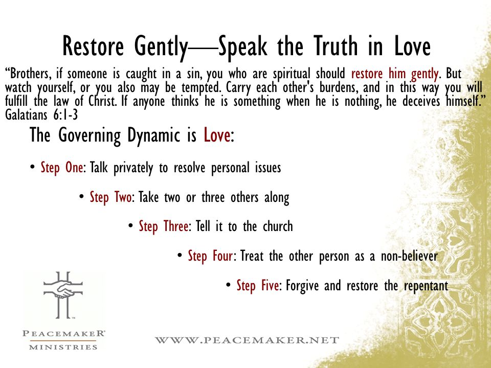 Restore Gently—Speak the Truth in Love