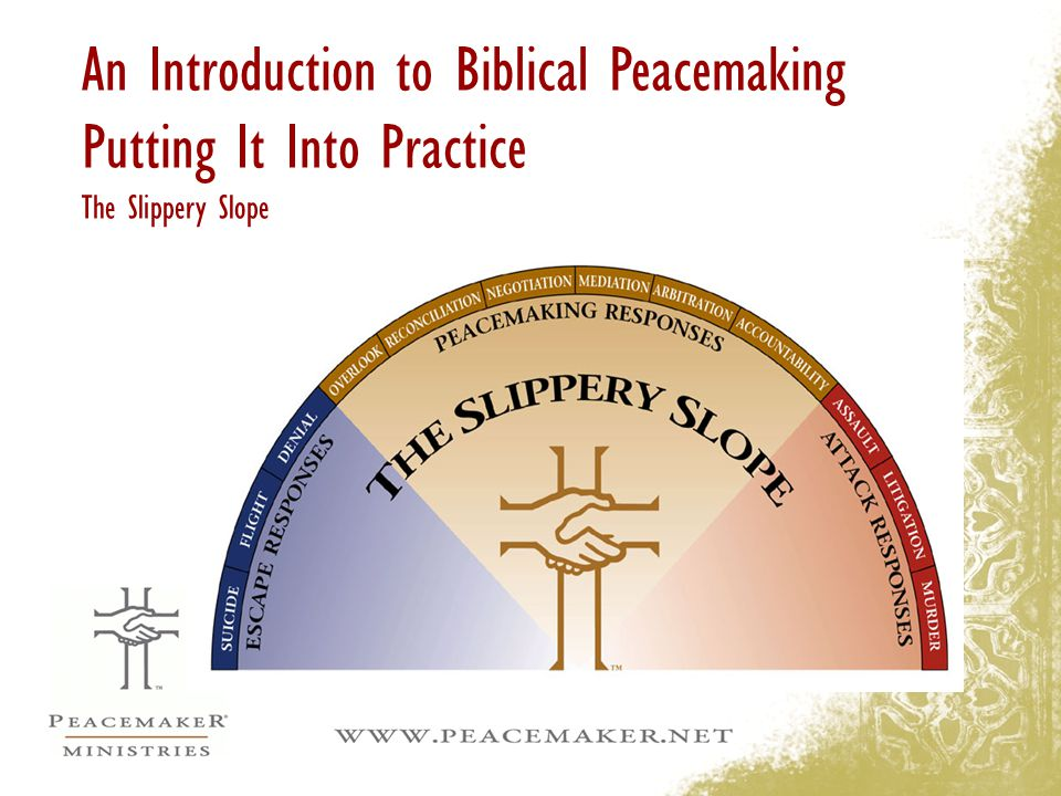 An Introduction to Biblical Peacemaking Putting It Into Practice The Slippery Slope