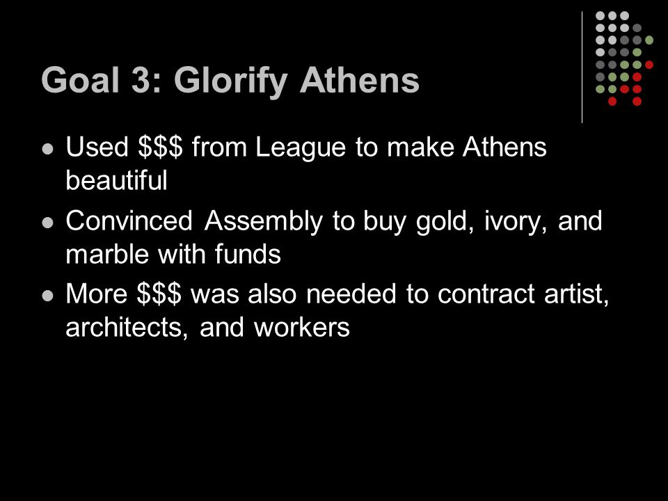 Goal 3: Glorify Athens Used $$$ from League to make Athens beautiful