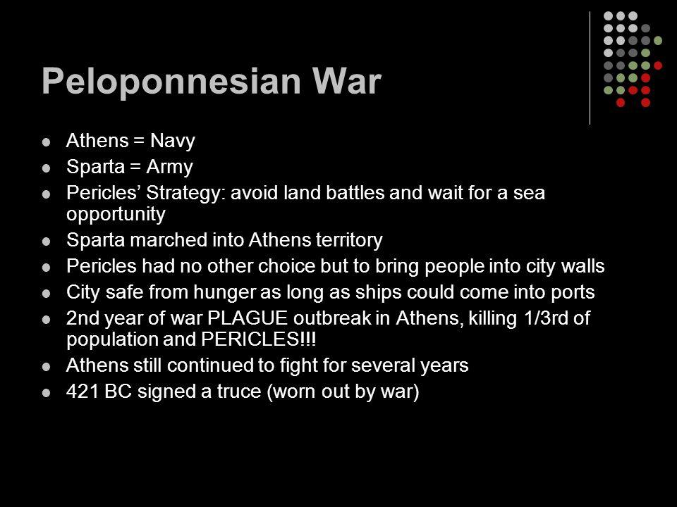 Peloponnesian War Athens = Navy Sparta = Army