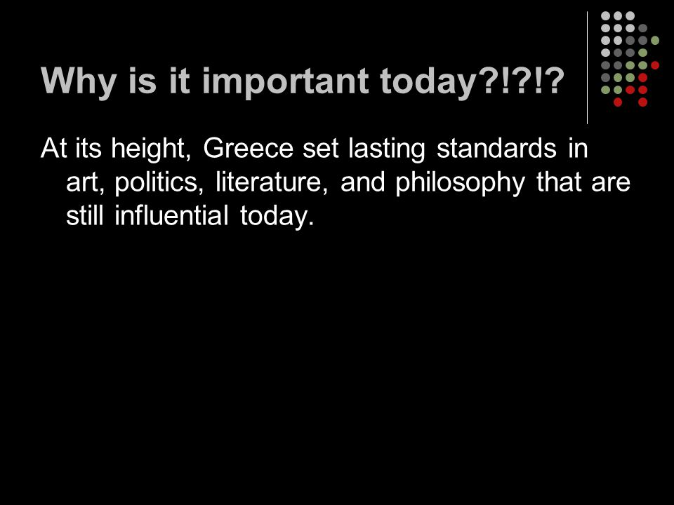 Why is it important today ! !