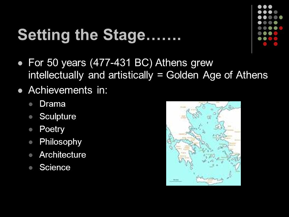 Setting the Stage……. For 50 years (477-431 BC) Athens grew intellectually and artistically = Golden Age of Athens.