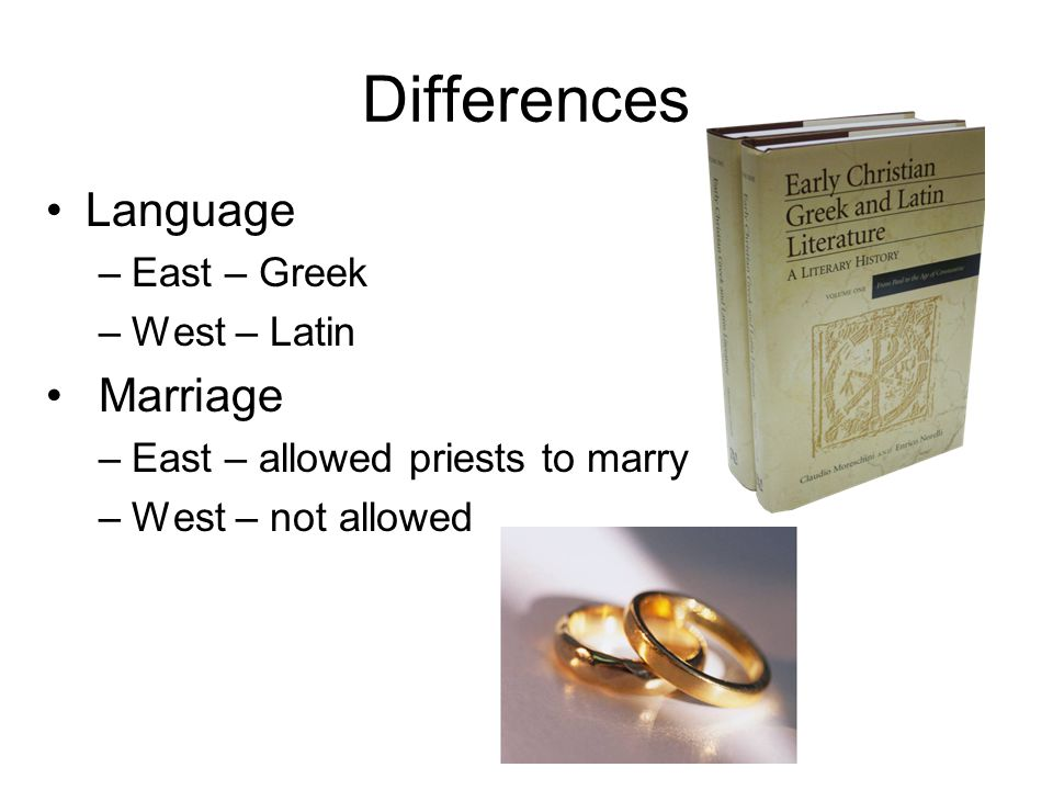 Differences Language Marriage East – Greek West – Latin