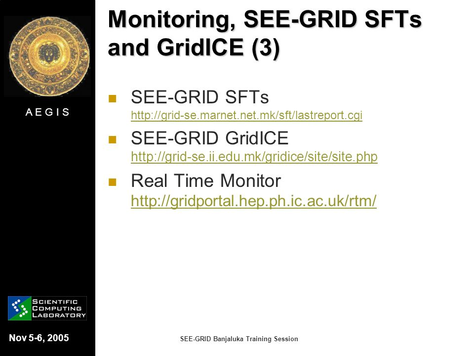 Monitoring, SEE-GRID SFTs and GridICE (3)