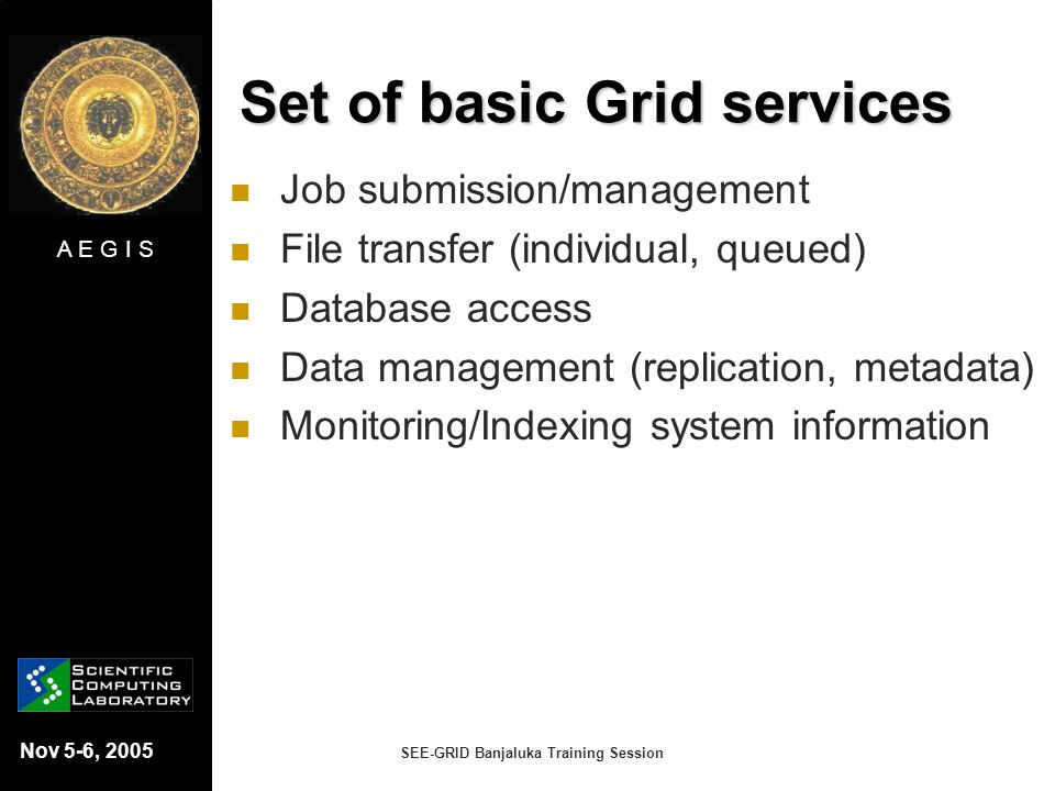 Set of basic Grid services