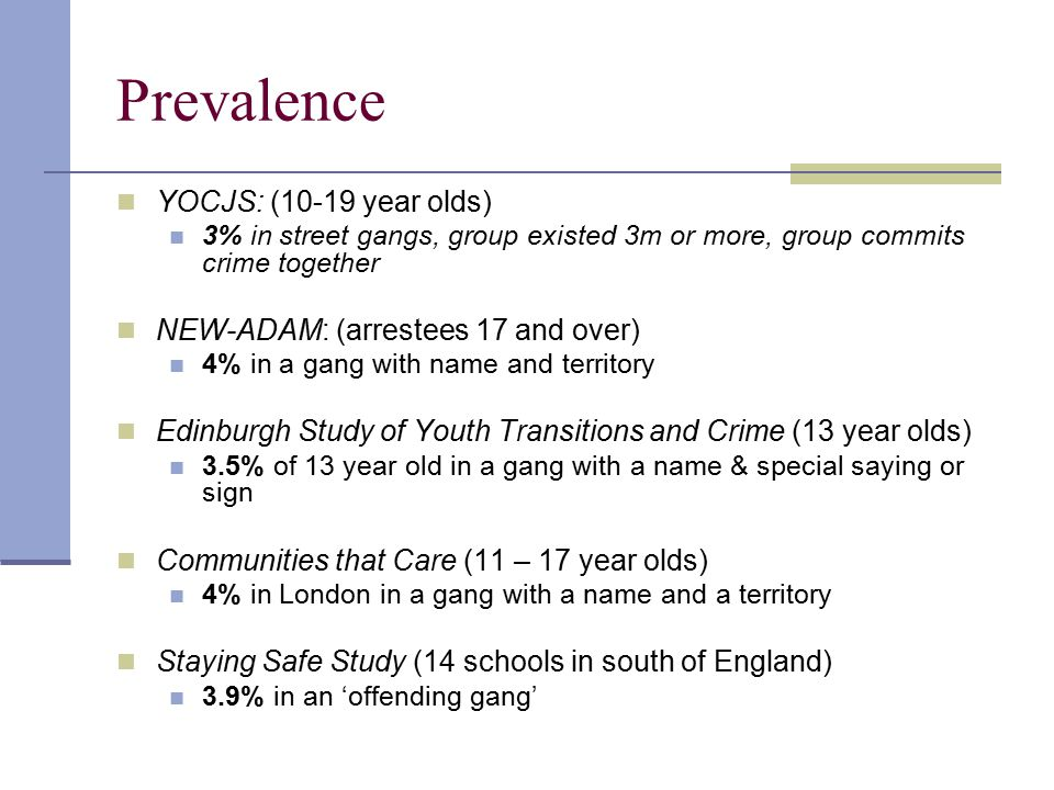 Prevalence YOCJS: (10-19 year olds) NEW-ADAM: (arrestees 17 and over)