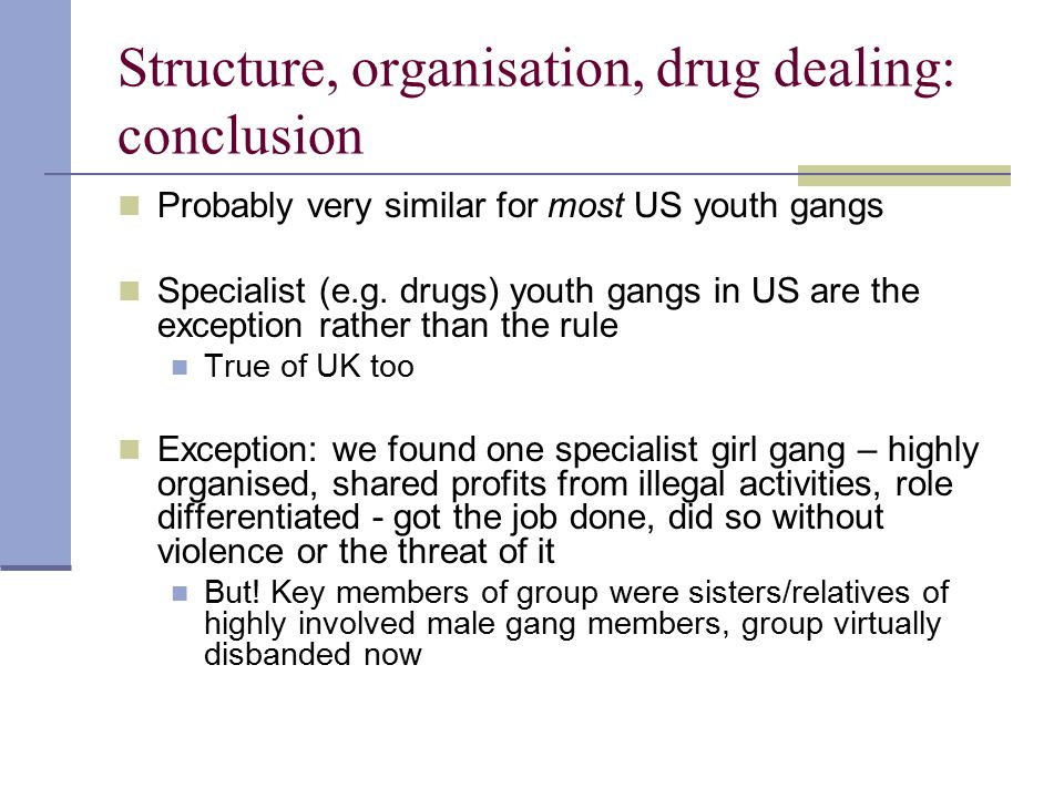 Structure, organisation, drug dealing: conclusion