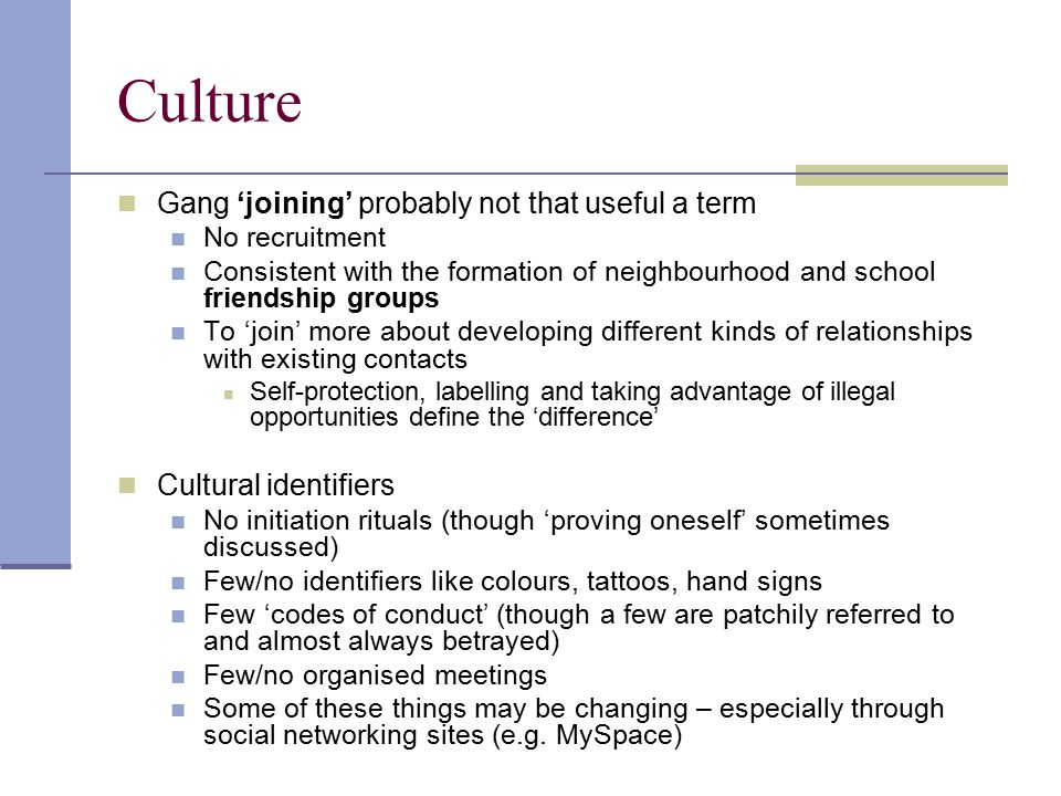 Culture Gang 'joining' probably not that useful a term
