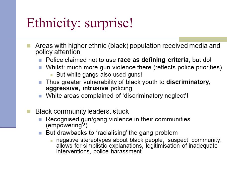 Ethnicity: surprise! Areas with higher ethnic (black) population received media and policy attention.