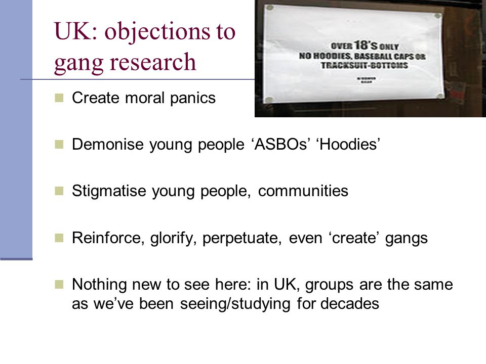 UK: objections to gang research