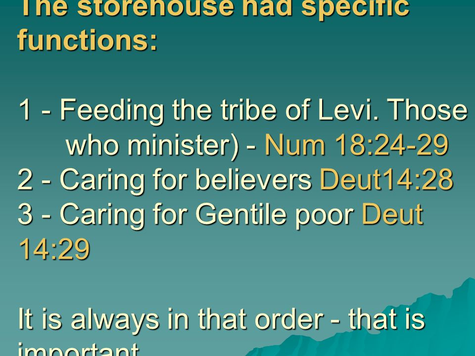 The storehouse had specific functions: 1 - Feeding the tribe of Levi