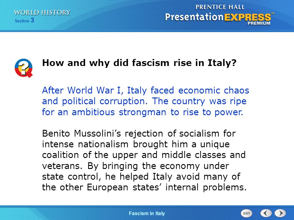 How and why did fascism rise in Italy