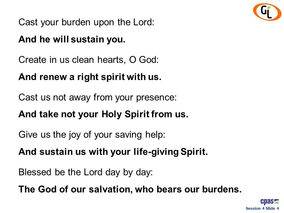 Cast your burden upon the Lord:
