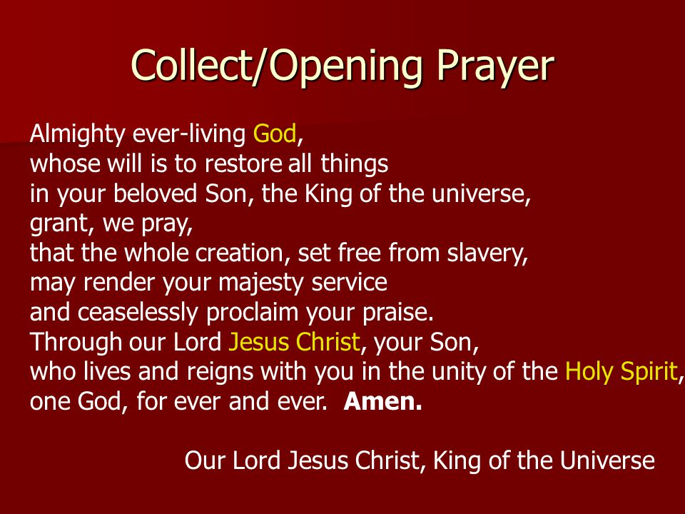 Collect/Opening Prayer