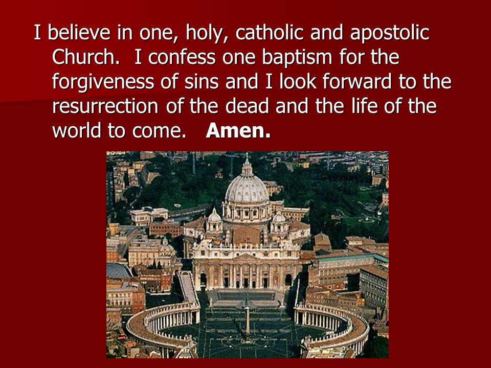 I believe in one, holy, catholic and apostolic Church