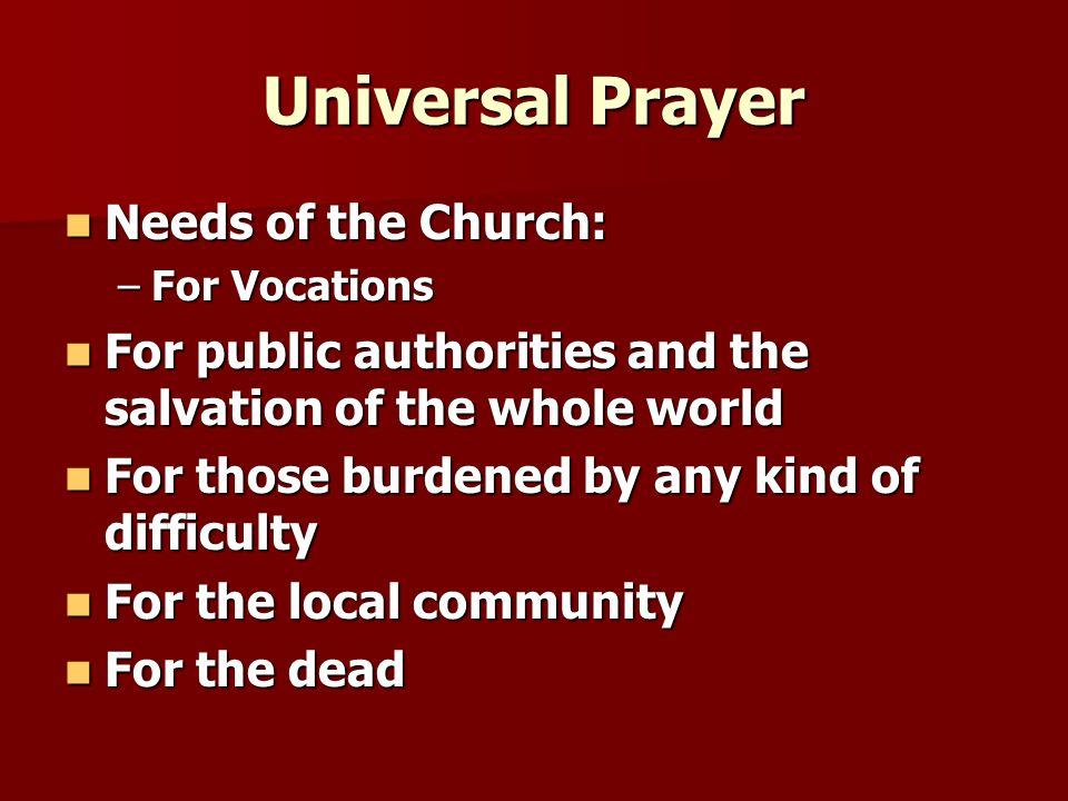 Universal Prayer Needs of the Church: