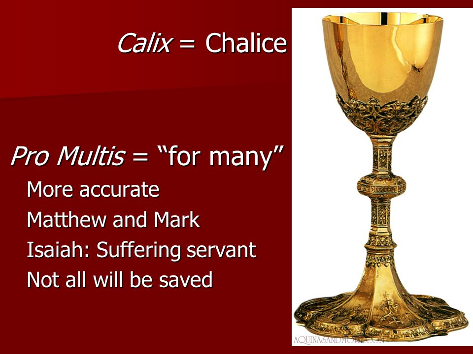 Calix = Chalice Pro Multis = for many More accurate Matthew and Mark
