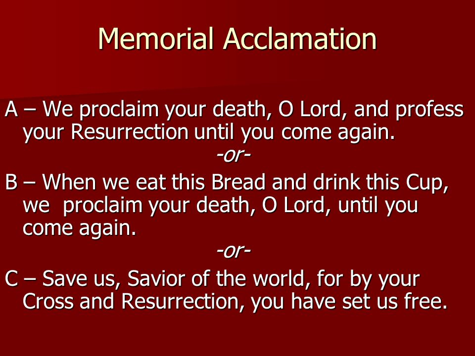 Memorial Acclamation A – We proclaim your death, O Lord, and profess your Resurrection until you come again. -or-