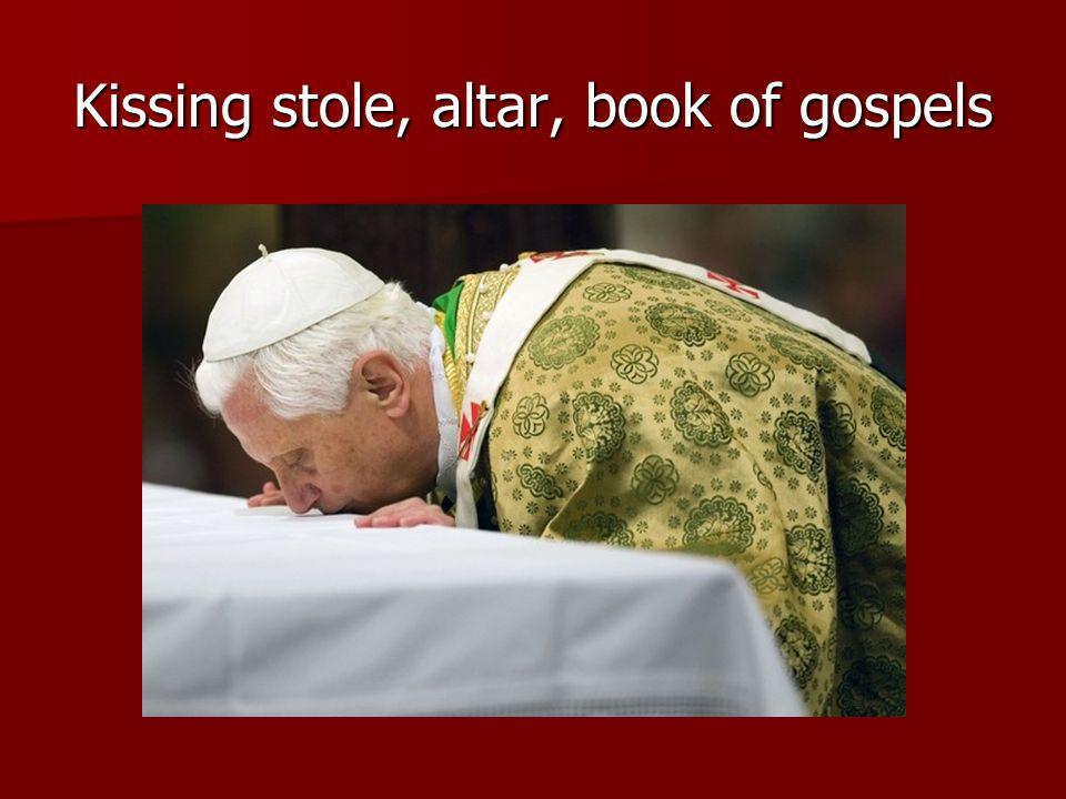 Kissing stole, altar, book of gospels