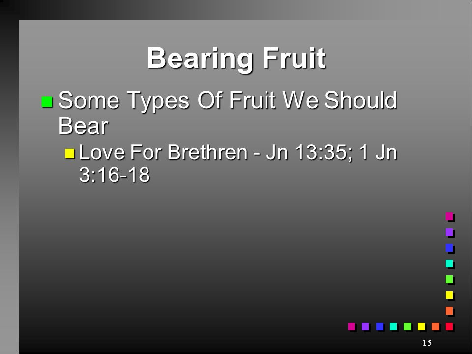 Bearing Fruit Some Types Of Fruit We Should Bear