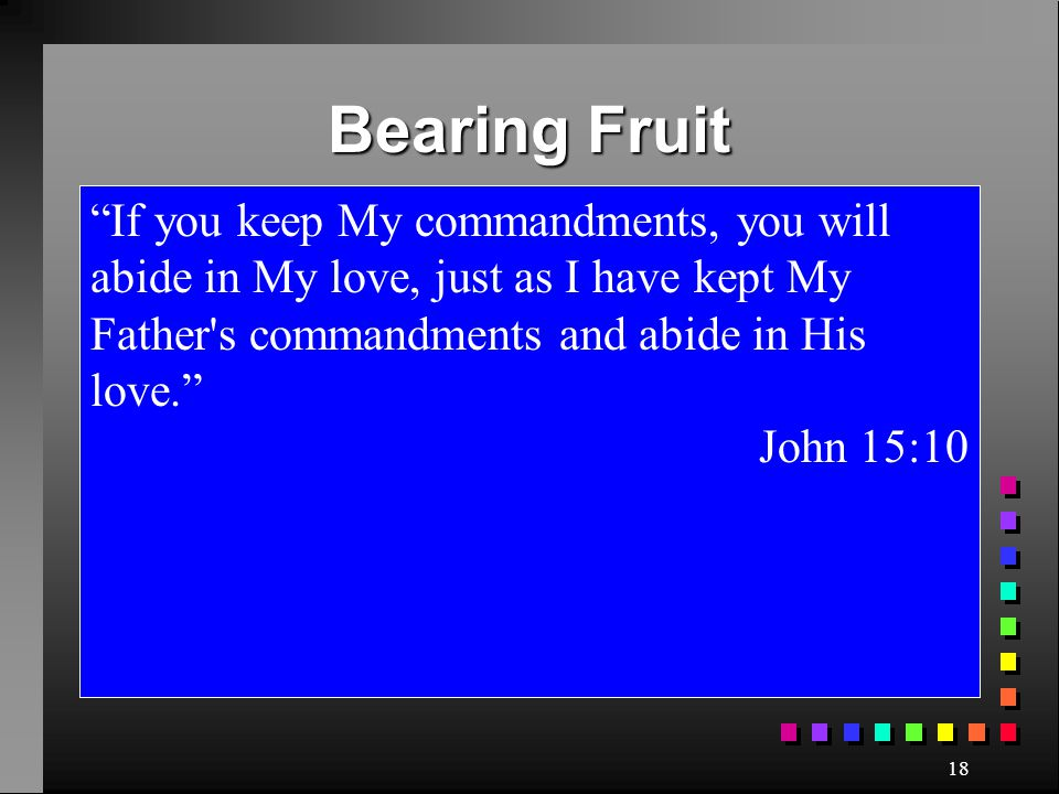 Bearing Fruit If you keep My commandments, you will abide in My love, just as I have kept My Father s commandments and abide in His love.
