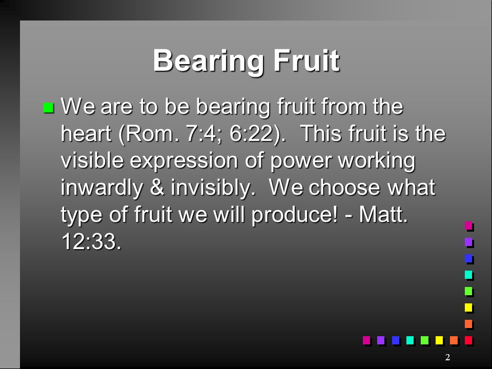 Bearing Fruit