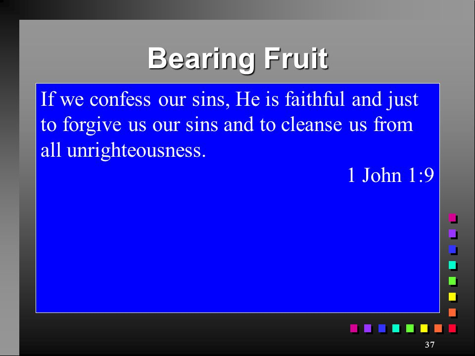 Bearing Fruit If we confess our sins, He is faithful and just to forgive us our sins and to cleanse us from all unrighteousness.