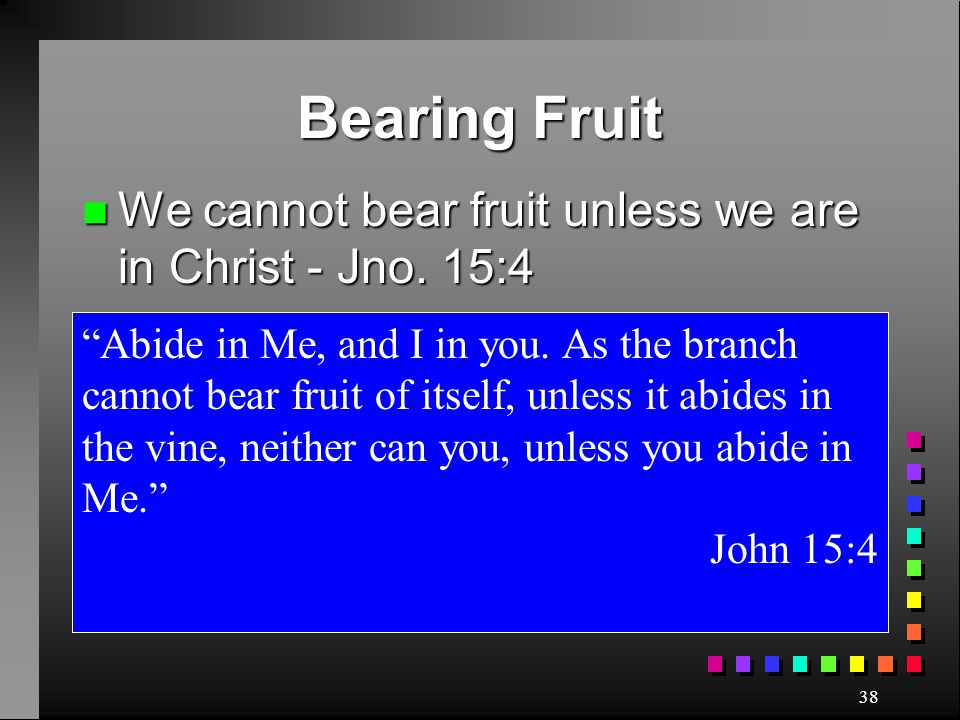 Bearing Fruit We cannot bear fruit unless we are in Christ - Jno. 15:4