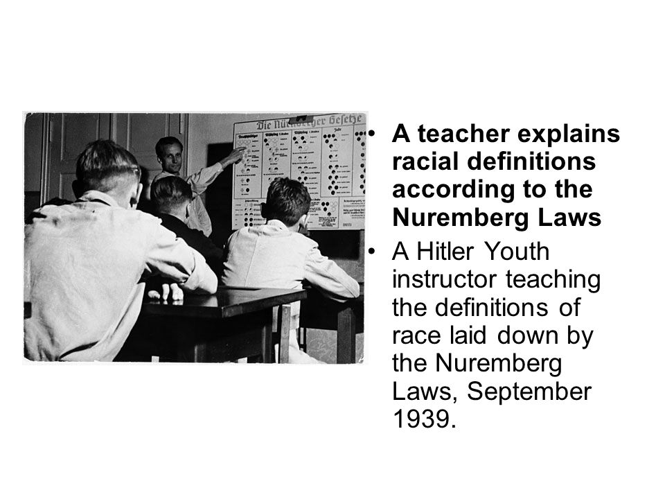 A teacher explains racial definitions according to the Nuremberg Laws
