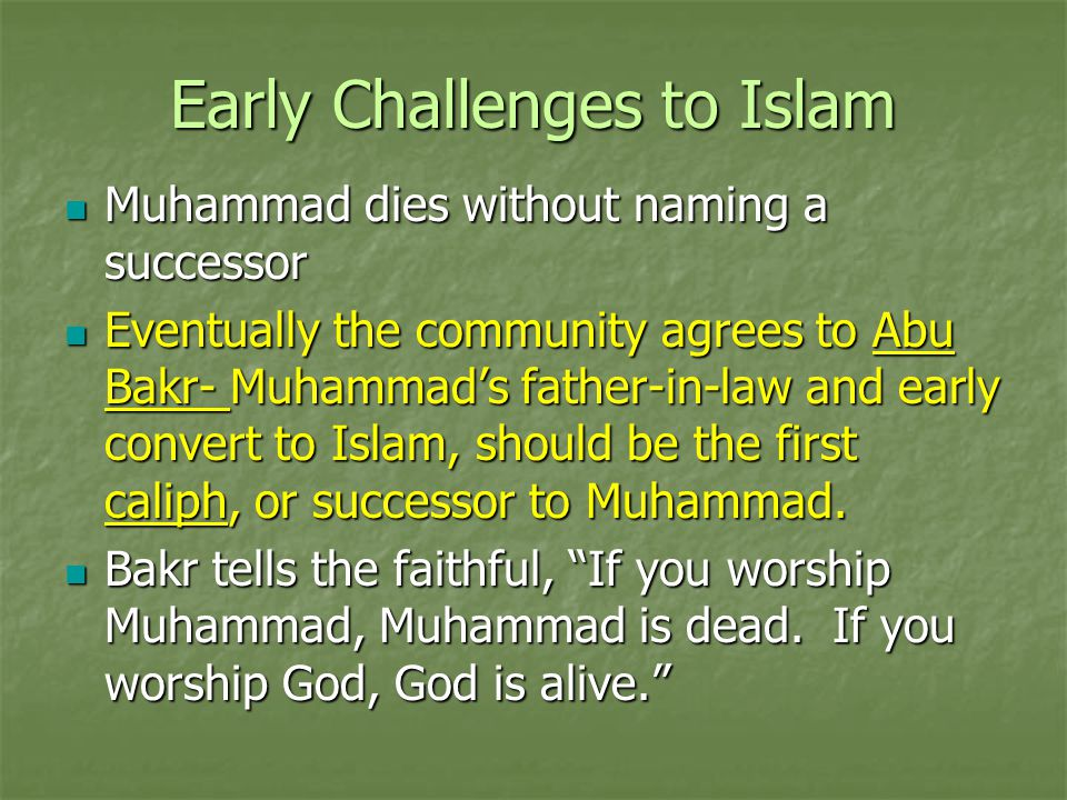 Early Challenges to Islam