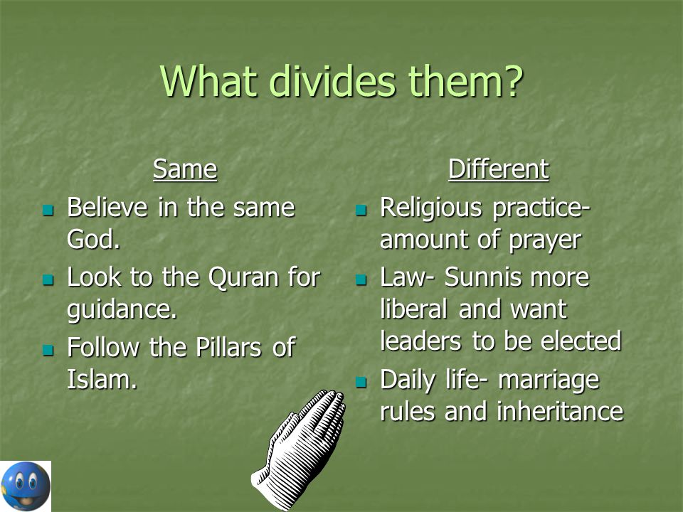 What divides them Same Believe in the same God.