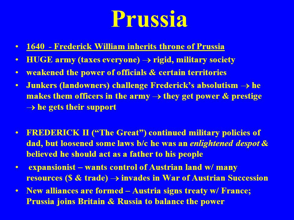 Prussia 1640 - Frederick William inherits throne of Prussia