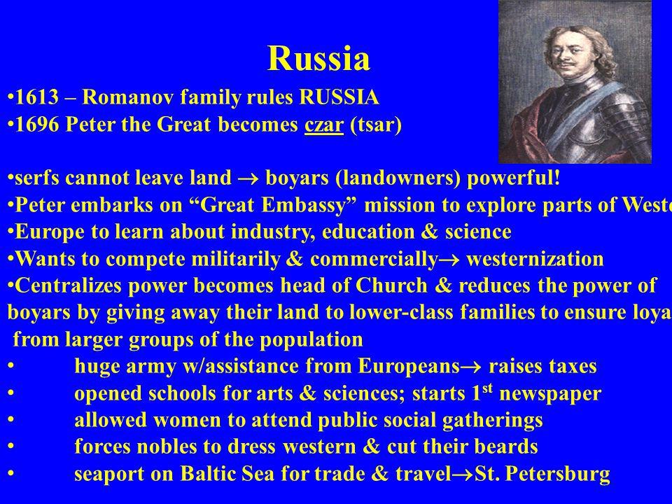 Russia 1613 – Romanov family rules RUSSIA