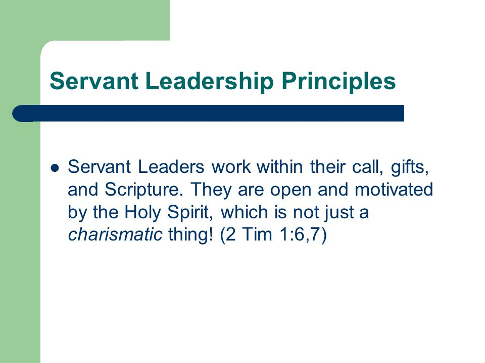 Servant Leadership Principles